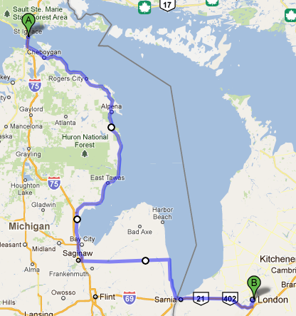 St. Ignace Michigan to London Ontario